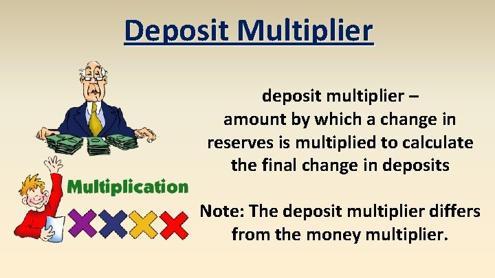 Deposit Multiplier deposit multiplier – amount by which a change in reserves is multiplied