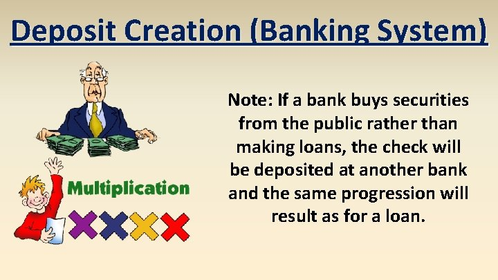 Deposit Creation (Banking System) Note: If a bank buys securities from the public rather