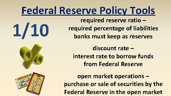 Federal Reserve Policy Tools 1/10 required reserve ratio – required percentage of liabilities banks