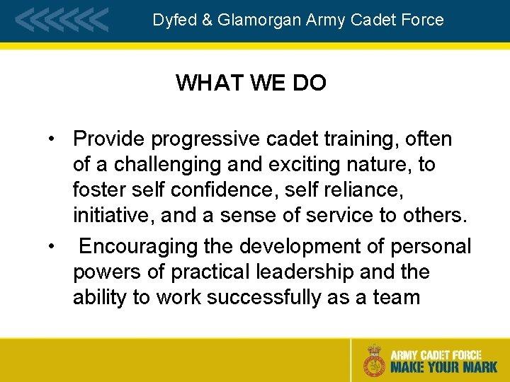 Dyfed & Glamorgan Army Cadet Force WHAT WE DO • Provide progressive cadet training,
