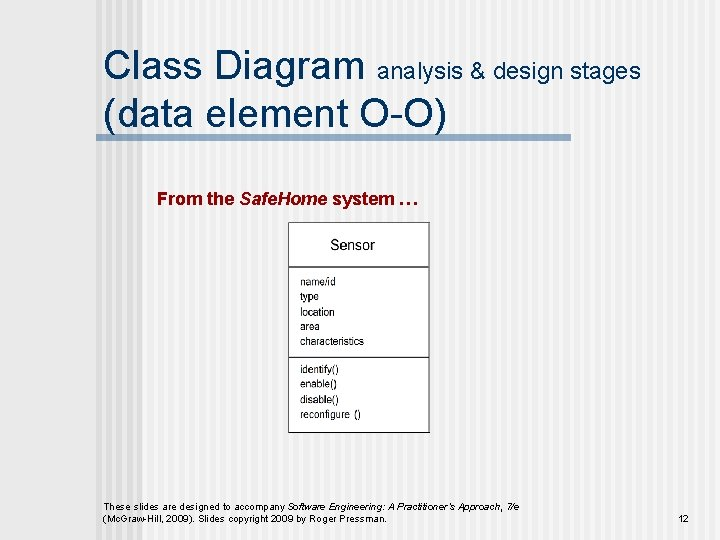 Class Diagram analysis & design stages (data element O-O) From the Safe. Home system