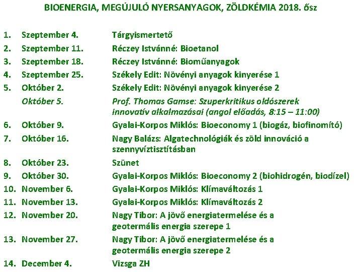 BIOENERGIA, MEGÚJULÓ NYERSANYAGOK, ZÖLDKÉMIA 2018. ősz 1. 2. 3. 4. 5. Szeptember 4. Szeptember