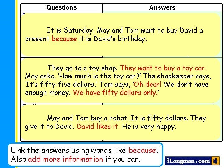 Questions Answers Beginning Saturday When does the story take place? It is Saturday. May