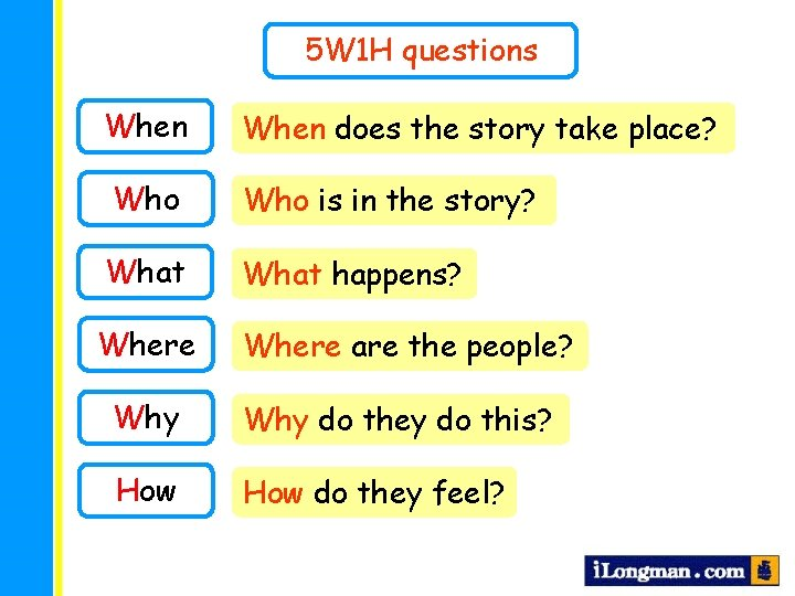 5 W 1 H questions When does the story take place? Who is in