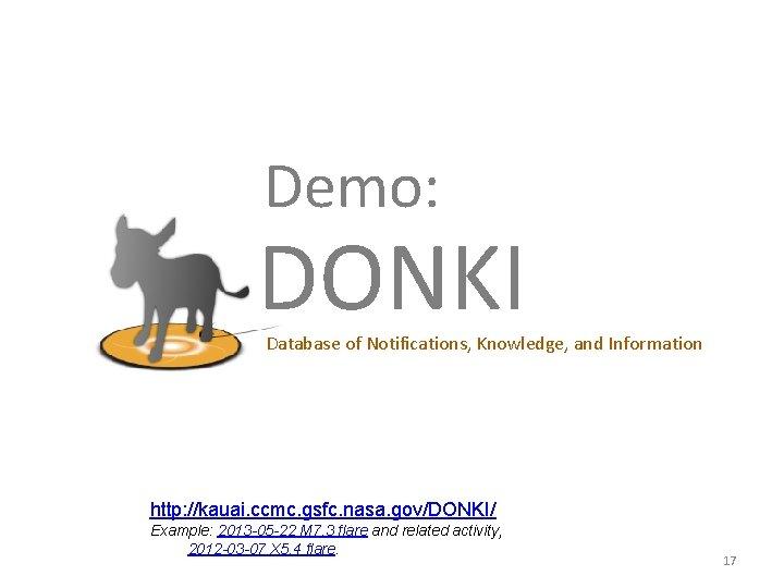 Demo: DONKI Database of Notifications, Knowledge, and Information http: //kauai. ccmc. gsfc. nasa. gov/DONKI/