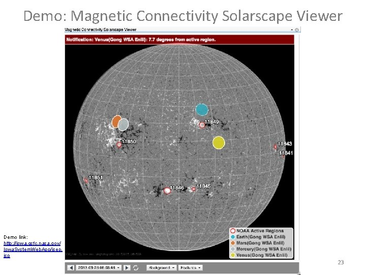 Demo: Magnetic Connectivity Solarscape Viewer Demo link: http: //iswa. gsfc. nasa. gov/ Iswa. System.
