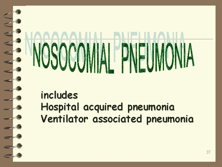 includes Hospital acquired pneumonia Ventilator associated pneumonia 37