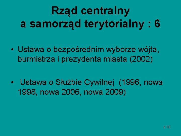 Rząd centralny a samorząd terytorialny : 6 • Ustawa o bezpośrednim wyborze wójta, burmistrza