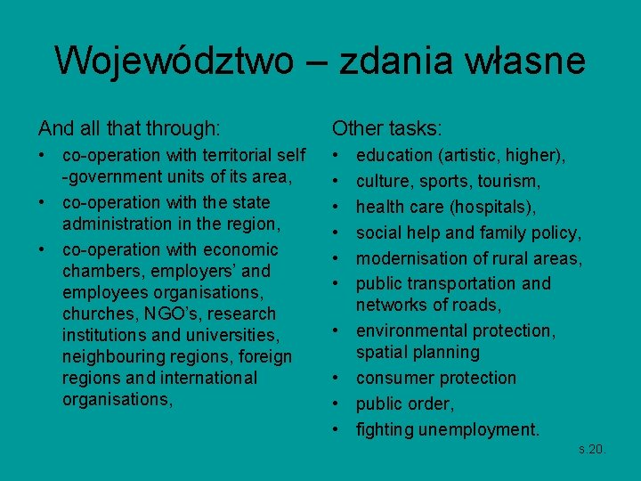 Województwo – zdania własne And all that through: Other tasks: • co-operation with territorial