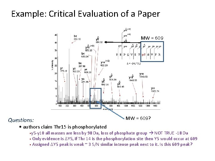 Example: Critical Evaluation of a Paper MW = 609 Questions: • authors claim Thr