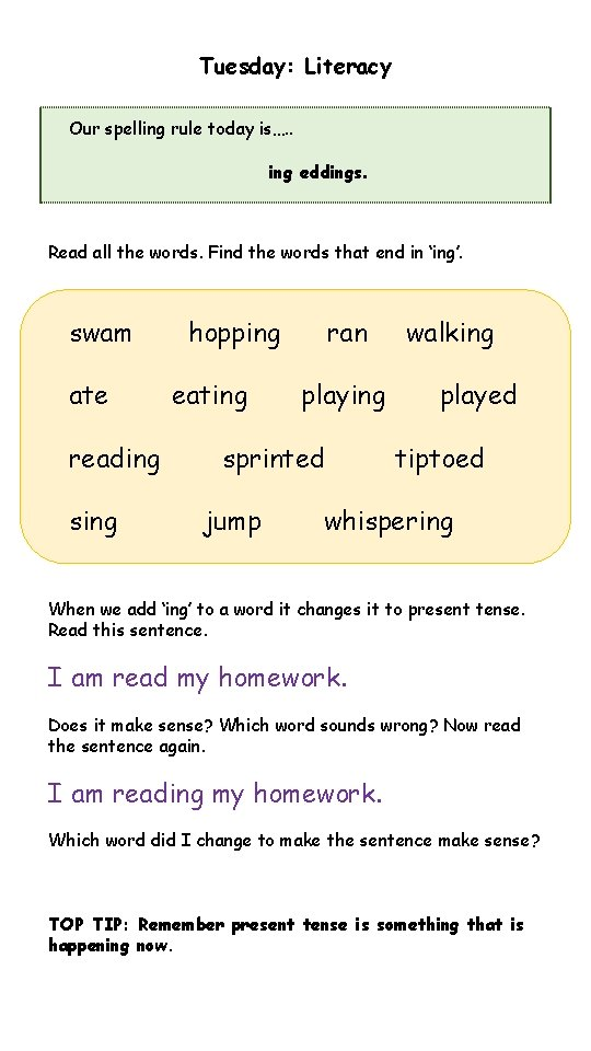 Tuesday: Literacy Our spelling rule today is…. . ing eddings. Read all the words.