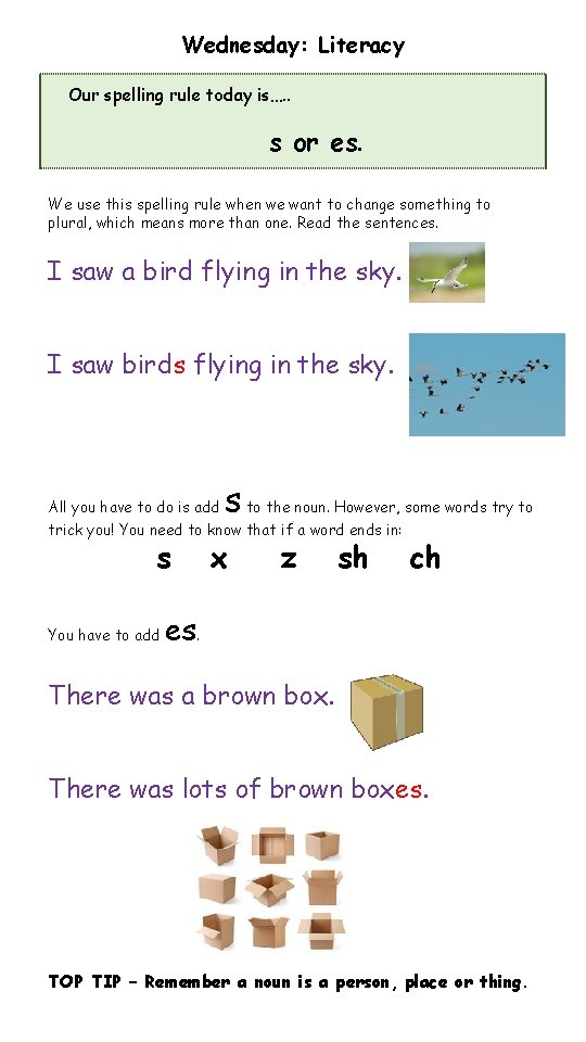 Wednesday: Literacy Our spelling rule today is…. . s or es. We use this