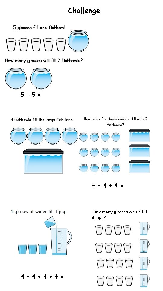 Challenge! 5 + 5 = 4 + 4 = How many glasses would fill