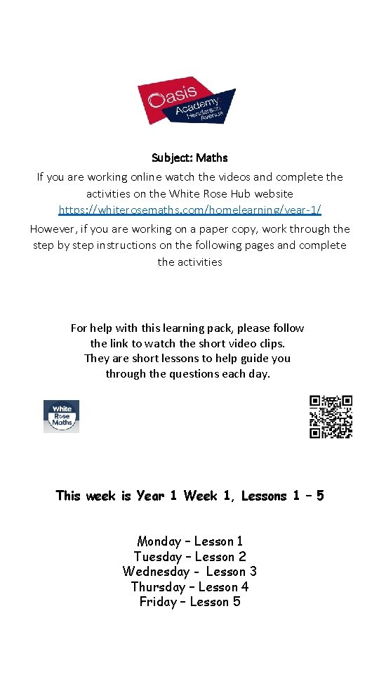 Subject: Maths If you are working online watch the videos and complete the activities