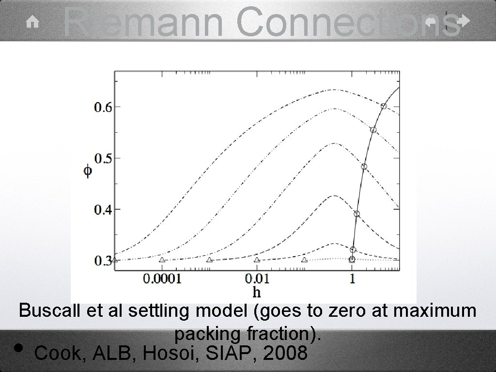 Riemann Connections Buscall et al settling model (goes to zero at maximum packing fraction).