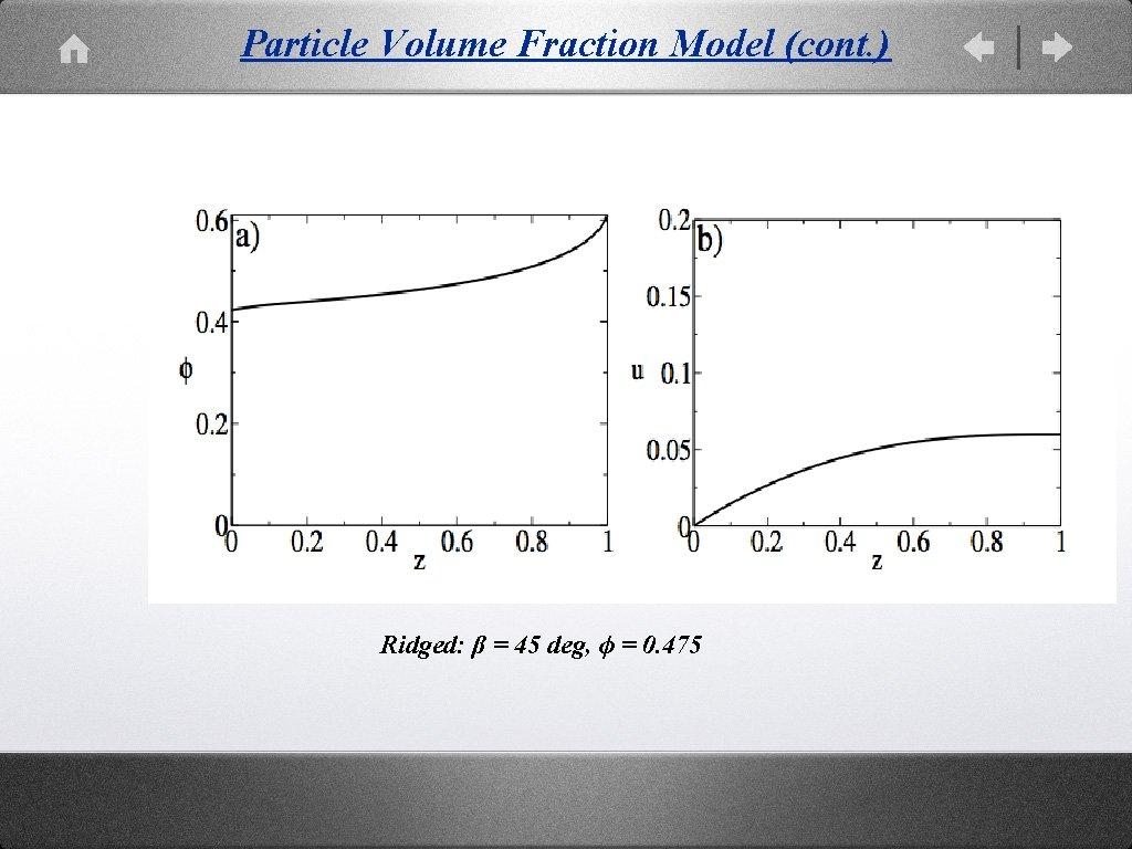 Particle Volume Fraction Model (cont. ) Ridged: β = 45 deg, ϕ = 0.