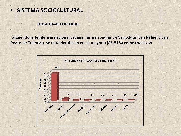 • SISTEMA SOCIOCULTURAL IDENTIDAD CULTURAL Siguiendo la tendencia nacional urbana, las parroquias de