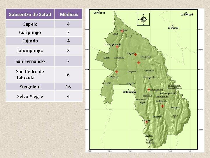 Subcentro de Salud Médicos Capelo 4 Curipungo 2 Fajardo 4 Jatumpungo 3 San Fernando