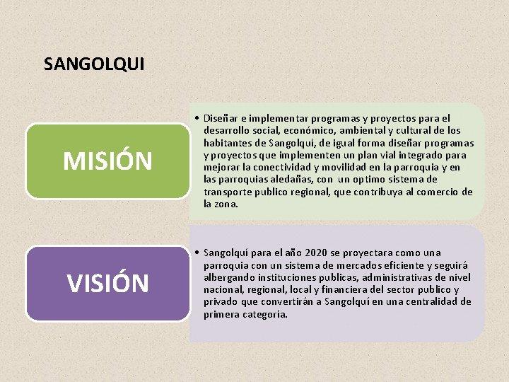 SANGOLQUI MISIÓN • Diseñar e implementar programas y proyectos para el desarrollo social, económico,