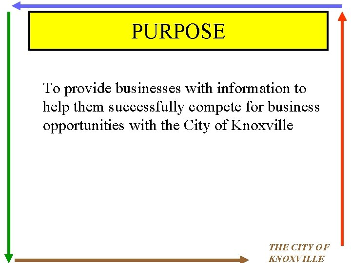 PURPOSE To provide businesses with information to help them successfully compete for business opportunities