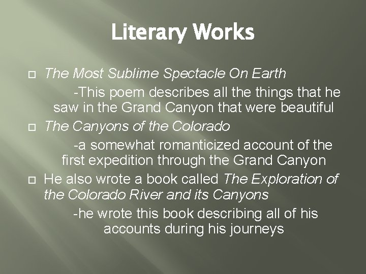 Literary Works The Most Sublime Spectacle On Earth -This poem describes all the things