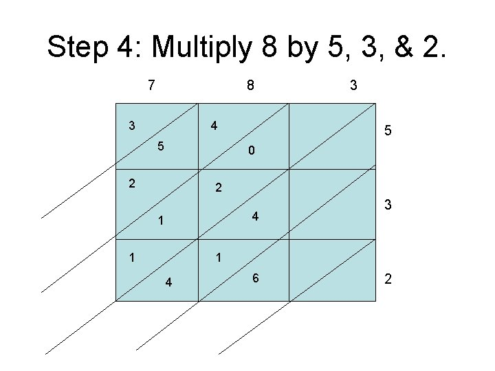 Step 4: Multiply 8 by 5, 3, & 2. 7 8 3 4 5