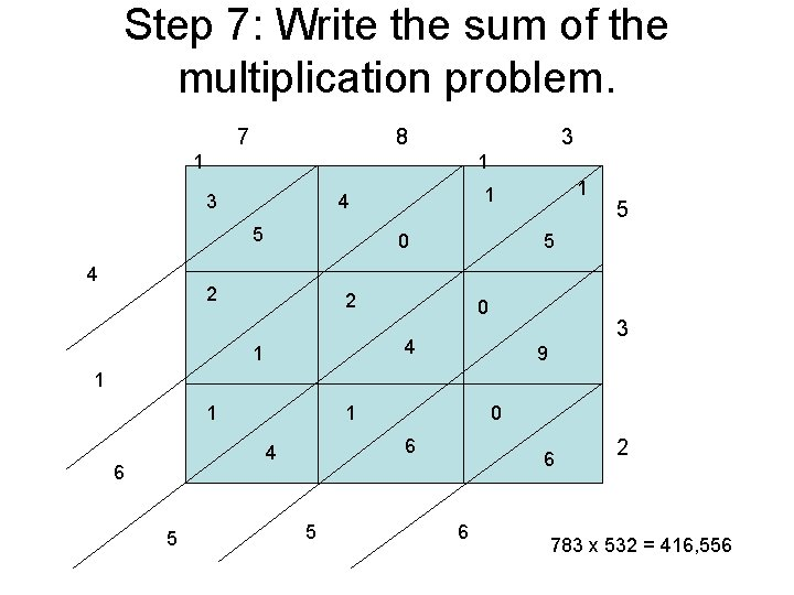Step 7: Write the sum of the multiplication problem. 7 8 3 1 1