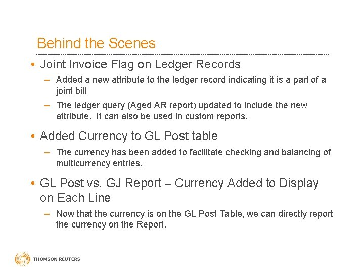 Behind the Scenes • Joint Invoice Flag on Ledger Records – Added a new