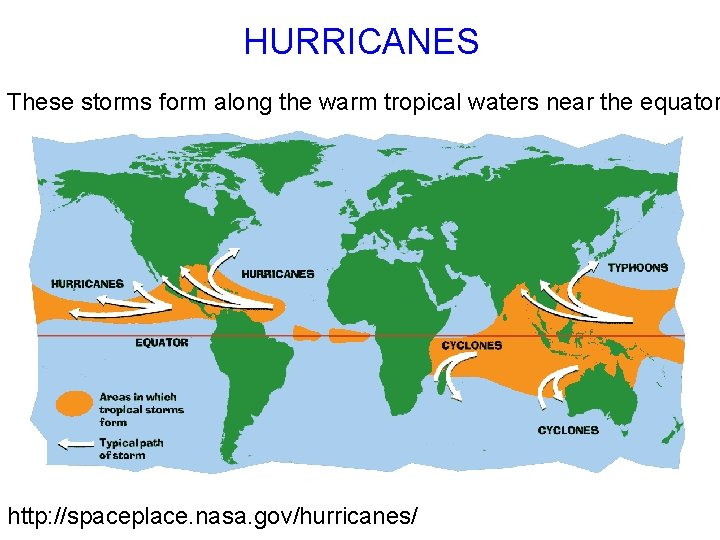 HURRICANES These storms form along the warm tropical waters near the equator http: //spaceplace.