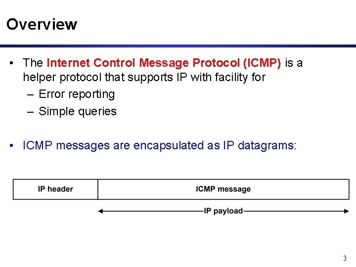 Overview • The Internet Control Message Protocol (ICMP) is a helper protocol that supports
