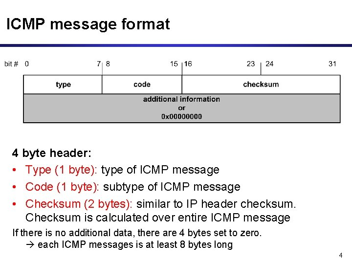 ICMP message format 4 byte header: • Type (1 byte): type of ICMP message
