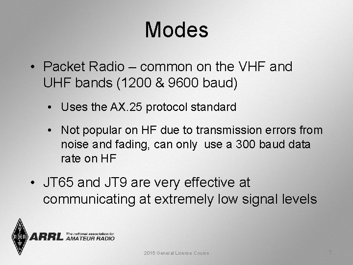 Modes • Packet Radio – common on the VHF and UHF bands (1200 &