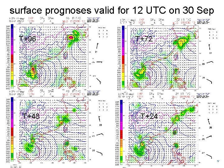 surface prognoses valid for 12 UTC on 30 Sep T+96 T+48 T+72 T+24