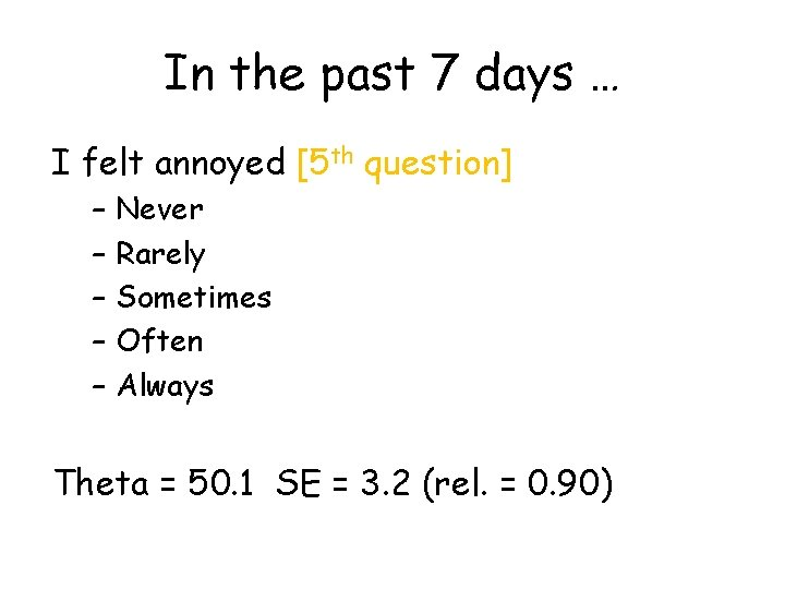 In the past 7 days … I felt annoyed [5 th question] – –