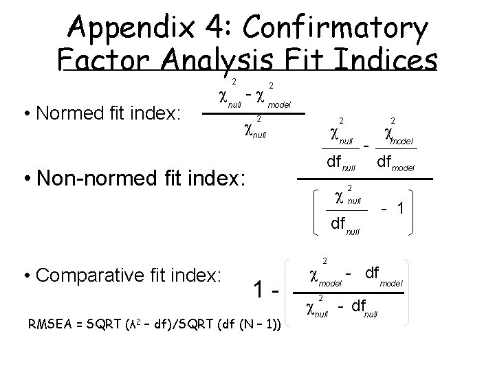 Appendix 4: Confirmatory Factor Analysis Fit Indices • Normed fit index: 2 null -