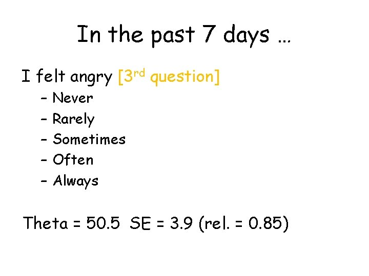 In the past 7 days … I felt angry [3 rd question] – –