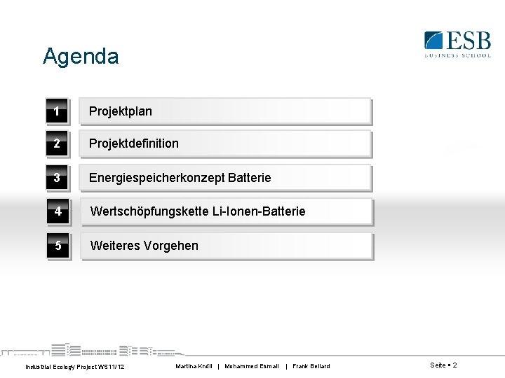 Agenda 1 Projektplan 2 Projektdefinition 3 Energiespeicherkonzept Batterie 4 Wertschöpfungskette Li-Ionen-Batterie 5 Weiteres Vorgehen