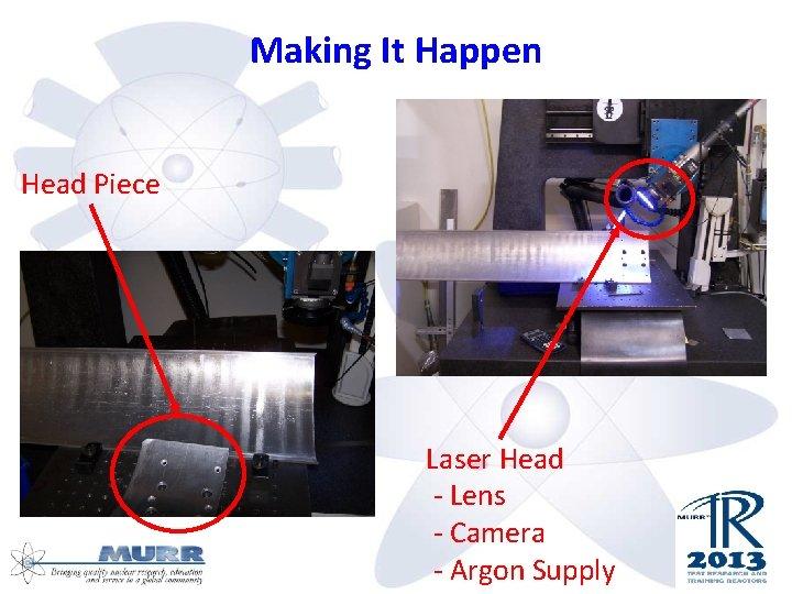 Making It Happen Head Piece Laser Head - Lens - Camera - Argon Supply