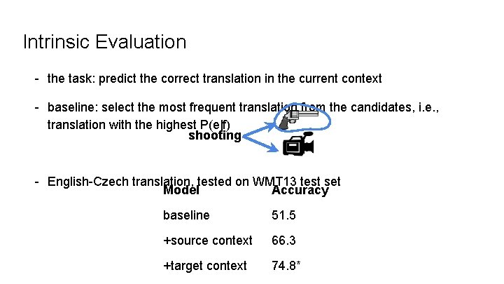 Intrinsic Evaluation - the task: predict the correct translation in the current context -