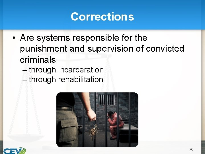 Corrections • Are systems responsible for the punishment and supervision of convicted criminals –