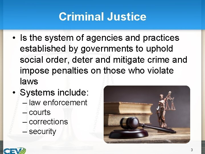 Criminal Justice • Is the system of agencies and practices established by governments to