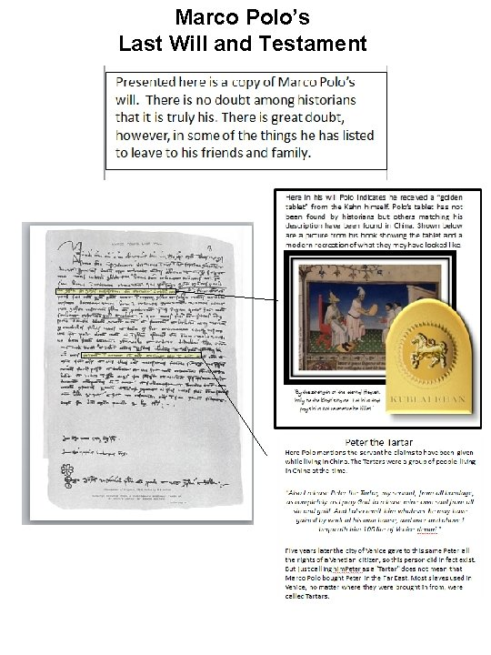 Marco Polo's Last Will and Testament