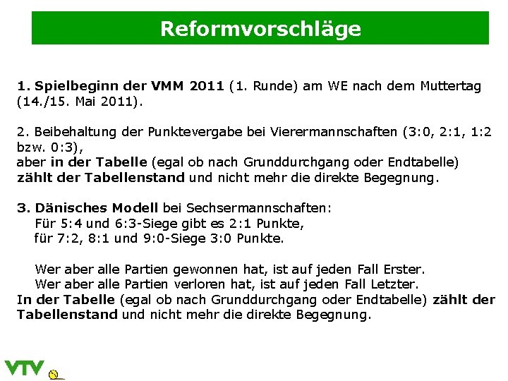 Reformvorschläge 1. Spielbeginn der VMM 2011 (1. Runde) am WE nach dem Muttertag (14.
