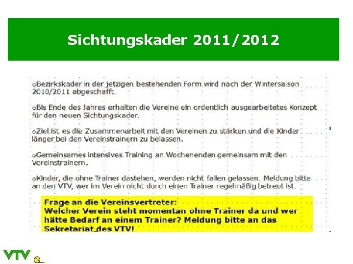 Sichtungskader 2011/2012