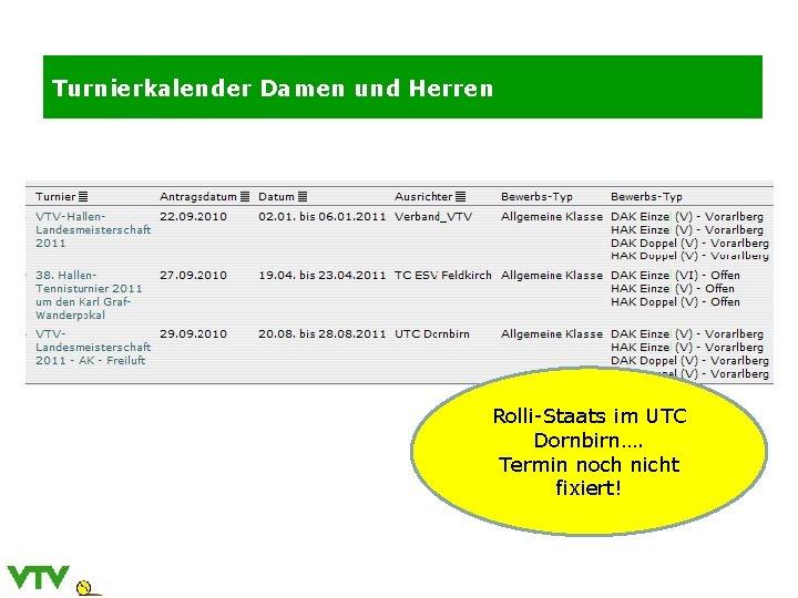 Turnierkalender Damen und Herren Rolli-Staats im UTC Dornbirn…. Termin noch nicht fixiert!