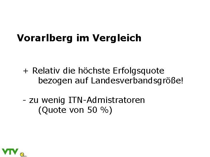 Vorarlberg im Vergleich + Relativ die höchste Erfolgsquote bezogen auf Landesverbandsgröße! - zu wenig