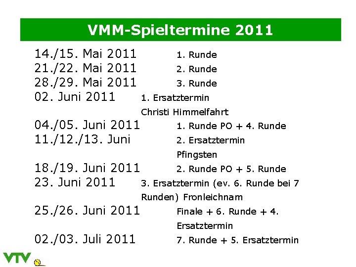 VMM-Spieltermine 2011 14. /15. Mai 2011 1. Runde 21. /22. Mai 2011 2. Runde