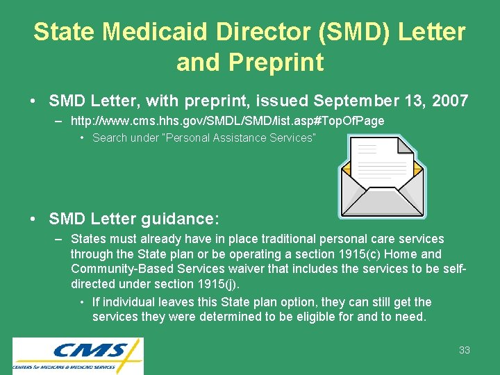 State Medicaid Director (SMD) Letter and Preprint • SMD Letter, with preprint, issued September