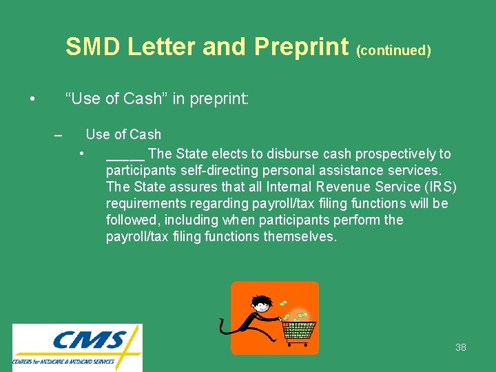 """SMD Letter and Preprint (continued) • """"Use of Cash"""" in preprint: – Use of"""