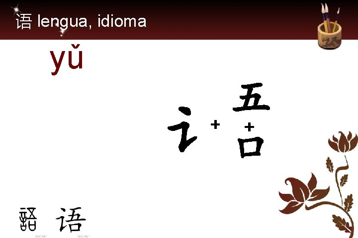 语 lengua, idioma yǔ 五 + + 讠口
